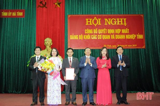 Hợp nhất Đảng bộ Khối các cơ quan và Khối doanh nghiệp Hà Tĩnh
