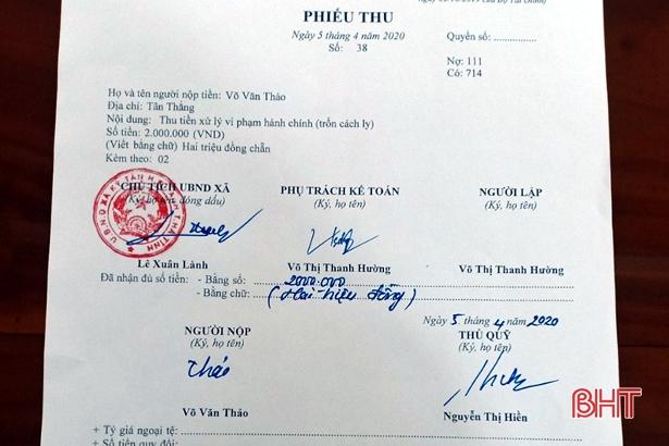 Hà Tĩnh: Xử phạt 2 triệu đồng một đối tượng trốn cách ly y tế