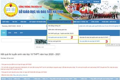 Tra cứu điểm thi vào lớp 10 THPT năm học 2020 - 2021 ở Hà Tĩnh