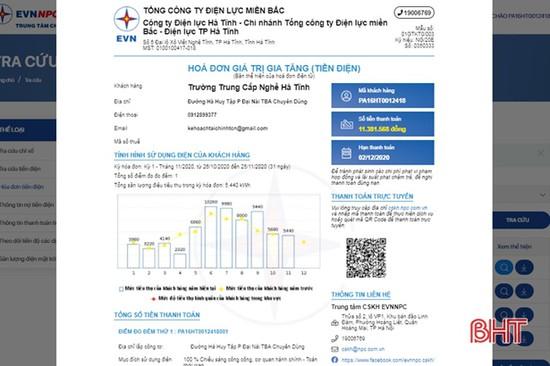 Ứng dụng hóa đơn điện tử, Điện lực Hà Tĩnh tiết kiệm trên 1,4 tỷ đồng