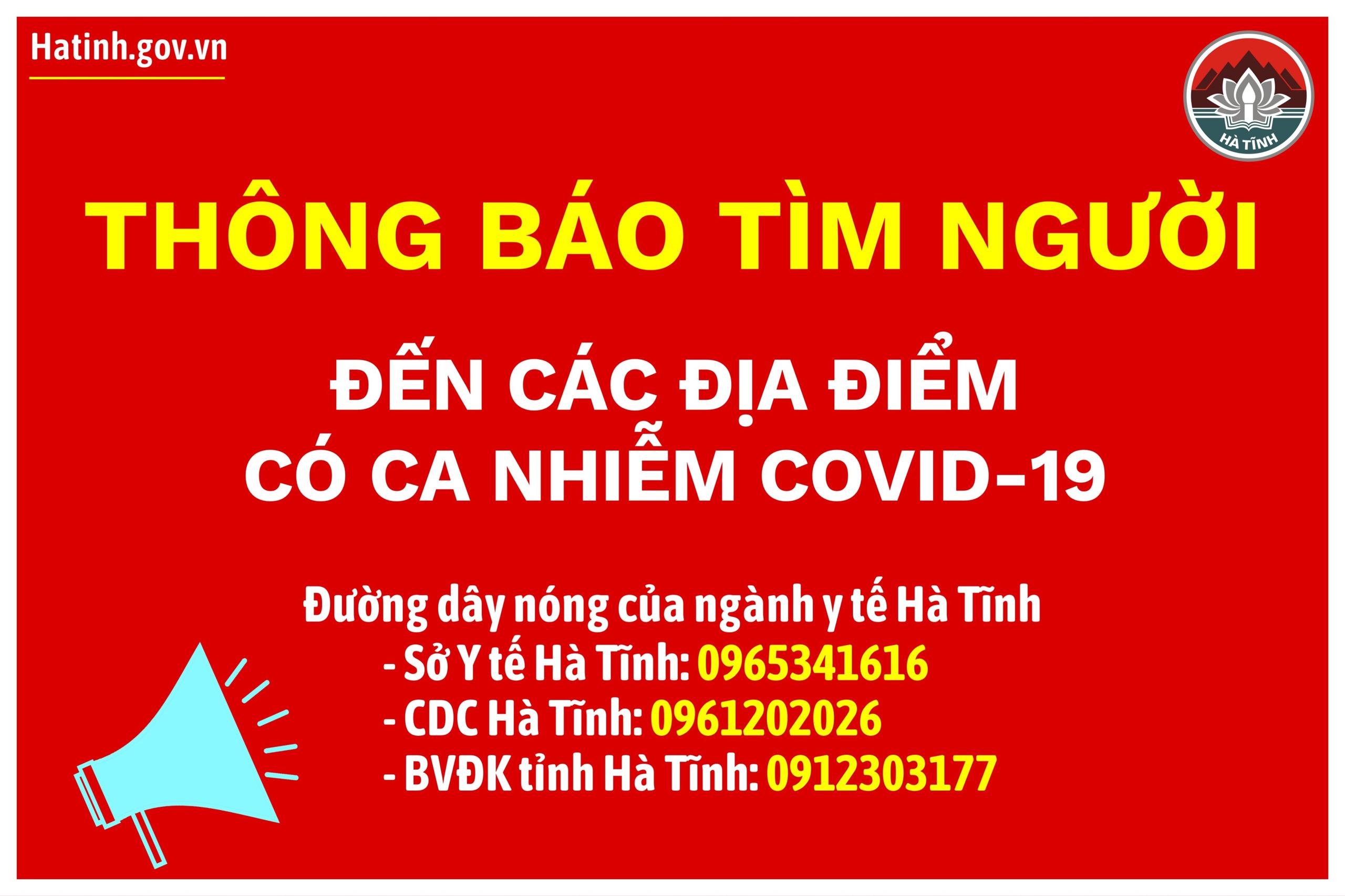 Hà Tĩnh thông báo tìm người đến các địa điểm có bệnh nhân mắc Covid-19