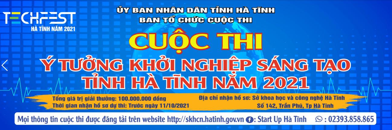 """Thông báo về việc tổ chức Cuộc thi """"Ý tưởng khởi nghiệp sáng tạo"""" tỉnh Hà Tĩnh năm 2021"""